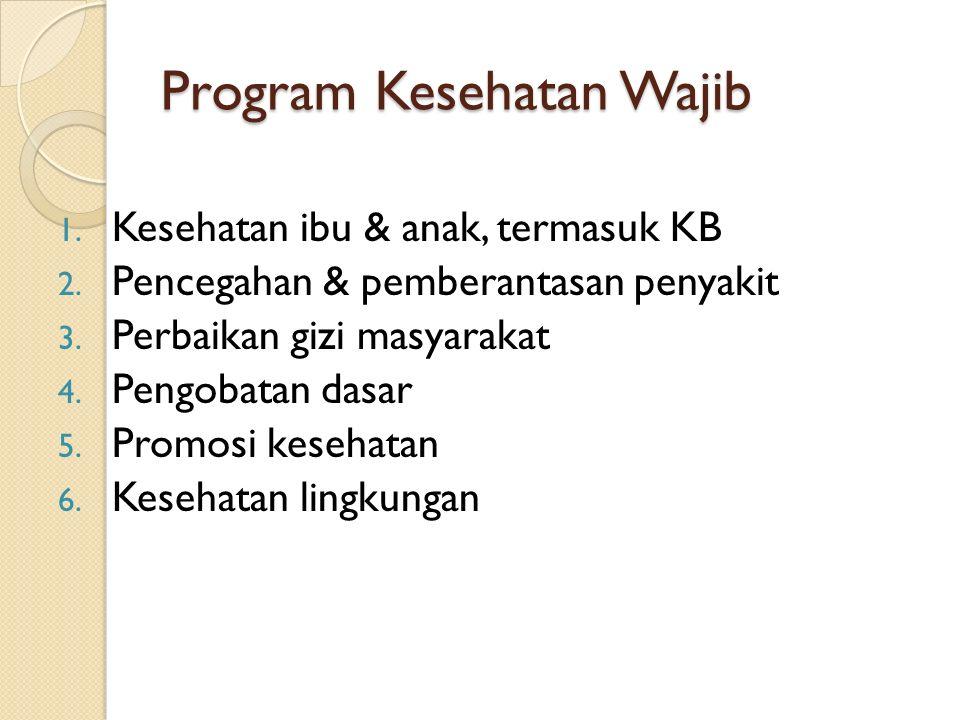 Program Kesehatan Wajib 1.Kesehatan ibu & anak, termasuk KB 2.