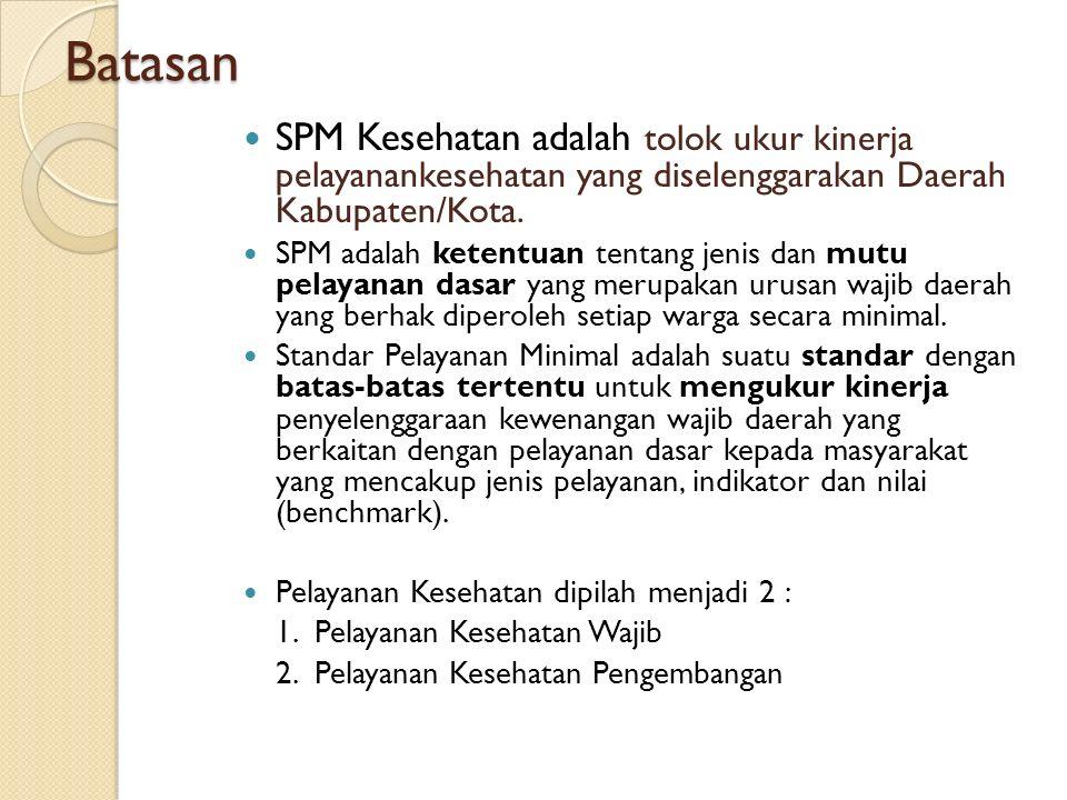 Batasan SPM Kesehatan adalah tolok ukur kinerja pelayanankesehatan yang diselenggarakan Daerah Kabupaten/Kota.