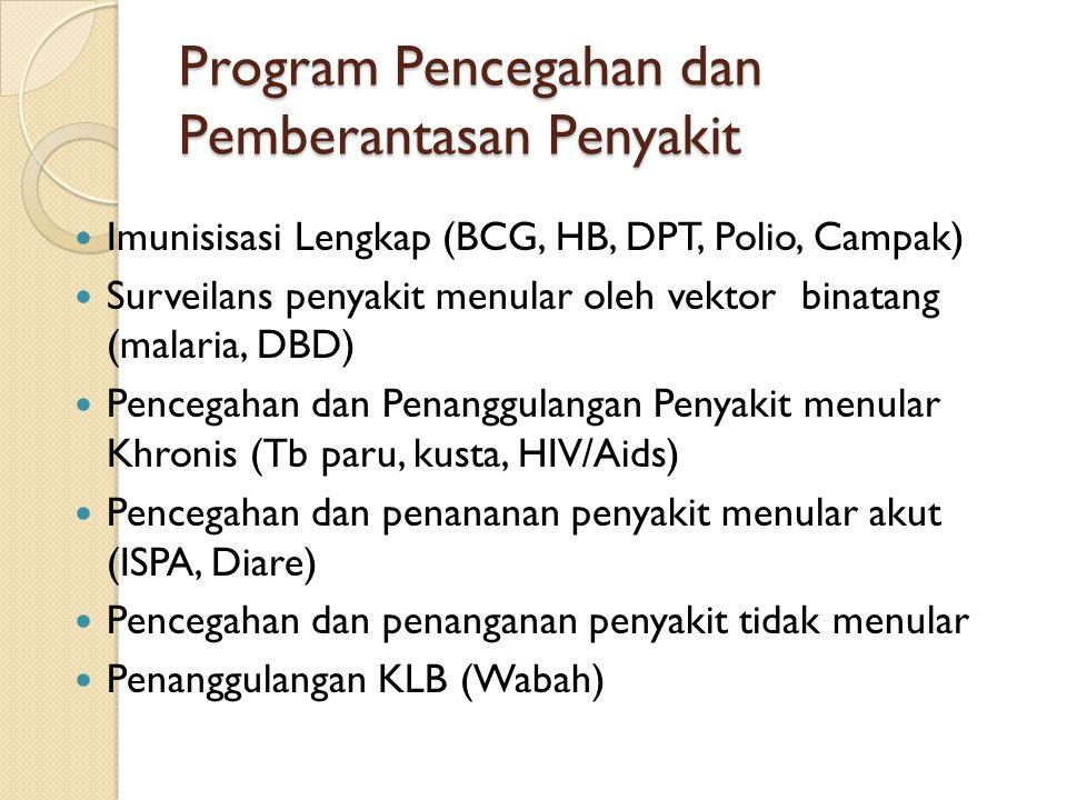 Program Pencegahan dan Pemberantasan Penyakit Imunisisasi Lengkap (BCG, HB, DPT, Polio, Campak) Surveilans penyakit menular oleh vektor binatang (malaria, DBD) Pencegahan dan Penanggulangan Penyakit menular Khronis (Tb paru, kusta, HIV/Aids) Pencegahan dan penananan penyakit menular akut (ISPA, Diare) Pencegahan dan penanganan penyakit tidak menular Penanggulangan KLB (Wabah)