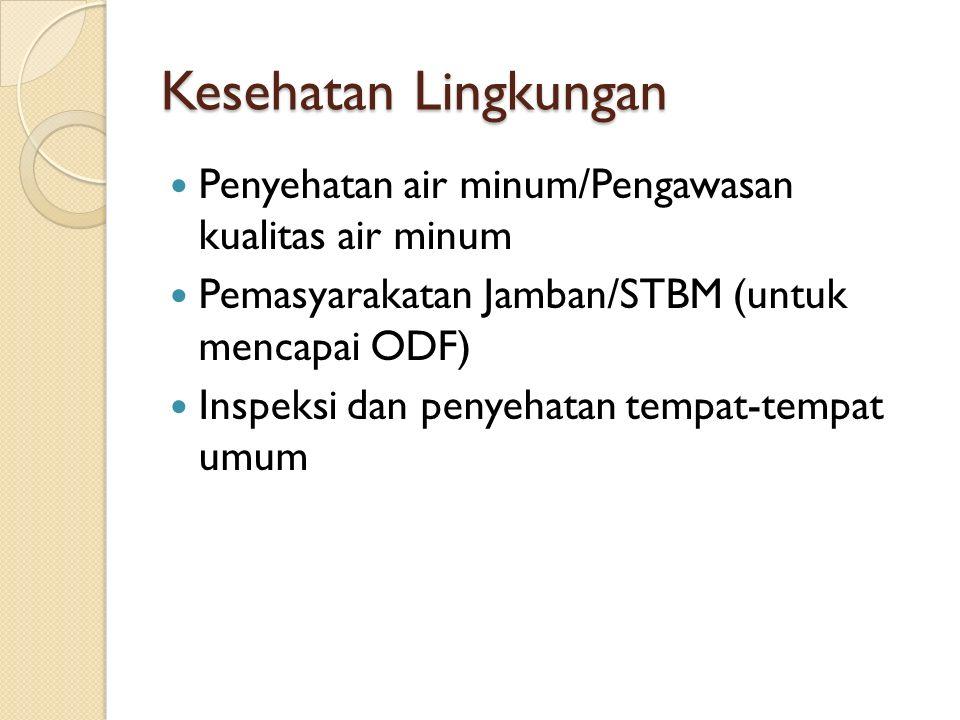Kesehatan Lingkungan Penyehatan air minum/Pengawasan kualitas air minum Pemasyarakatan Jamban/STBM (untuk mencapai ODF) Inspeksi dan penyehatan tempat-tempat umum