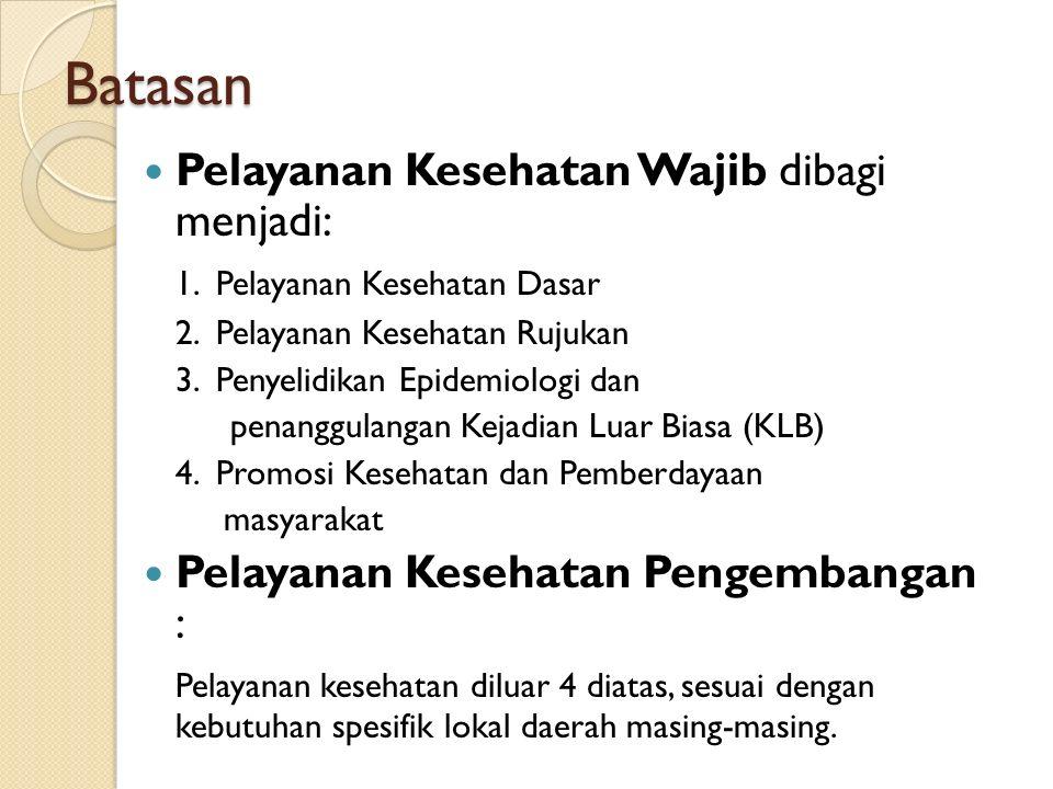 Batasan Pelayanan Kesehatan Wajib dibagi menjadi: 1.