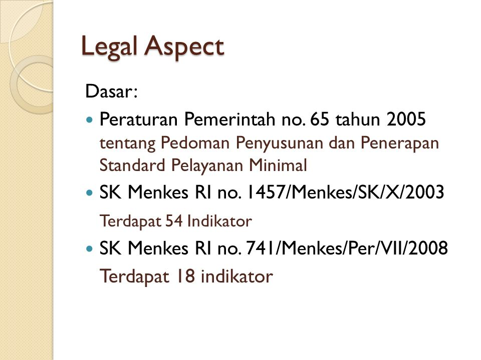 Legal Aspect Dasar: Peraturan Pemerintah no.
