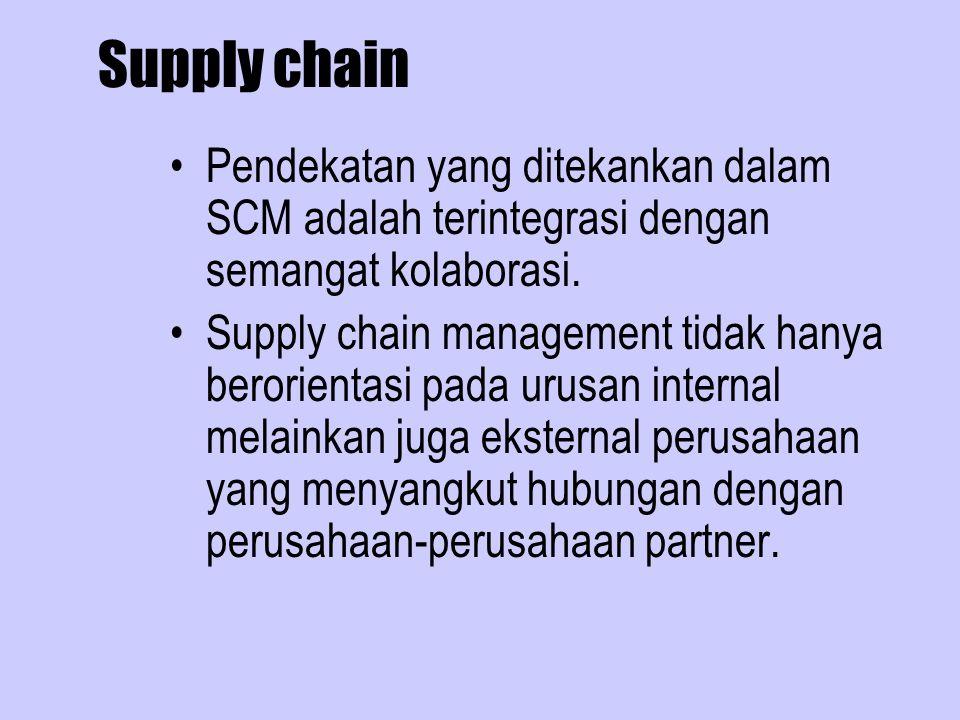 Supply chain Pendekatan yang ditekankan dalam SCM adalah terintegrasi dengan semangat kolaborasi.