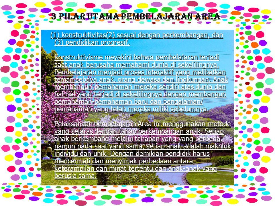 3 PILAR UTAMA PEMBELAJARAN AREA (1) konstruktivitas(2) sesuai dengan perkembangan, dan (3) pendidikan progresif.