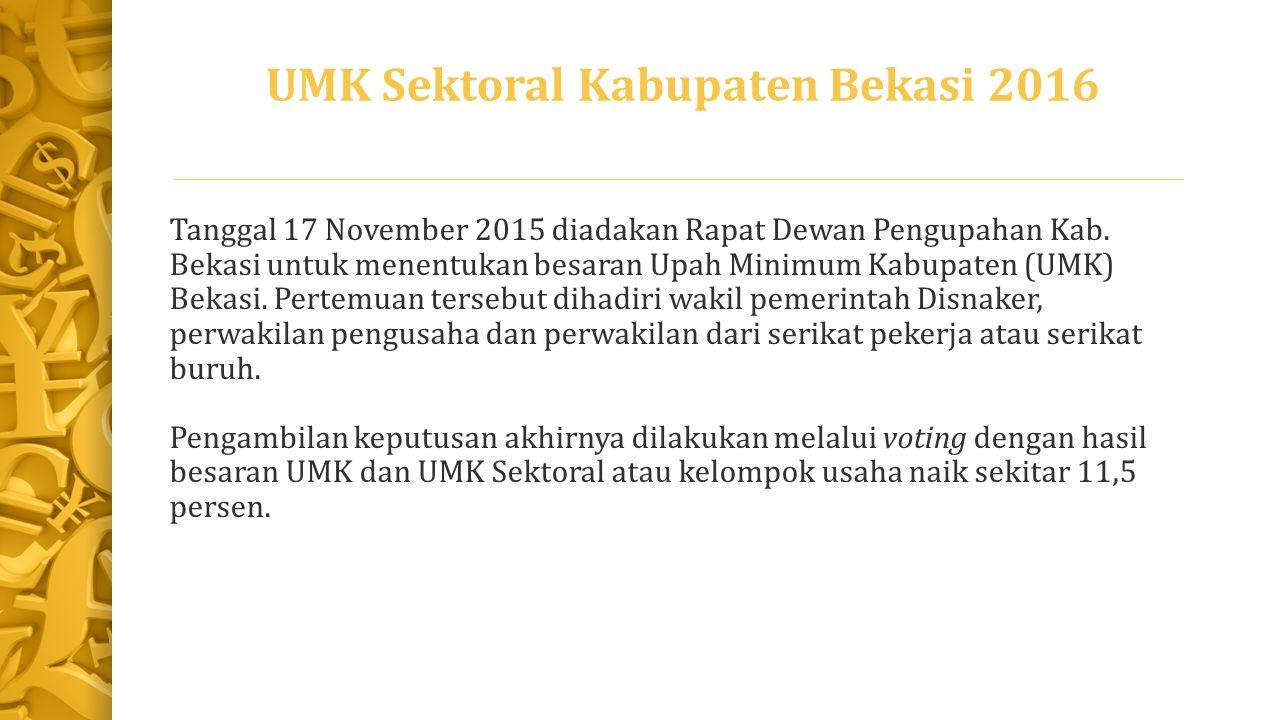 UMK Sektoral Kabupaten Bekasi 2016 Tanggal 17 November 2015 diadakan Rapat Dewan Pengupahan Kab.