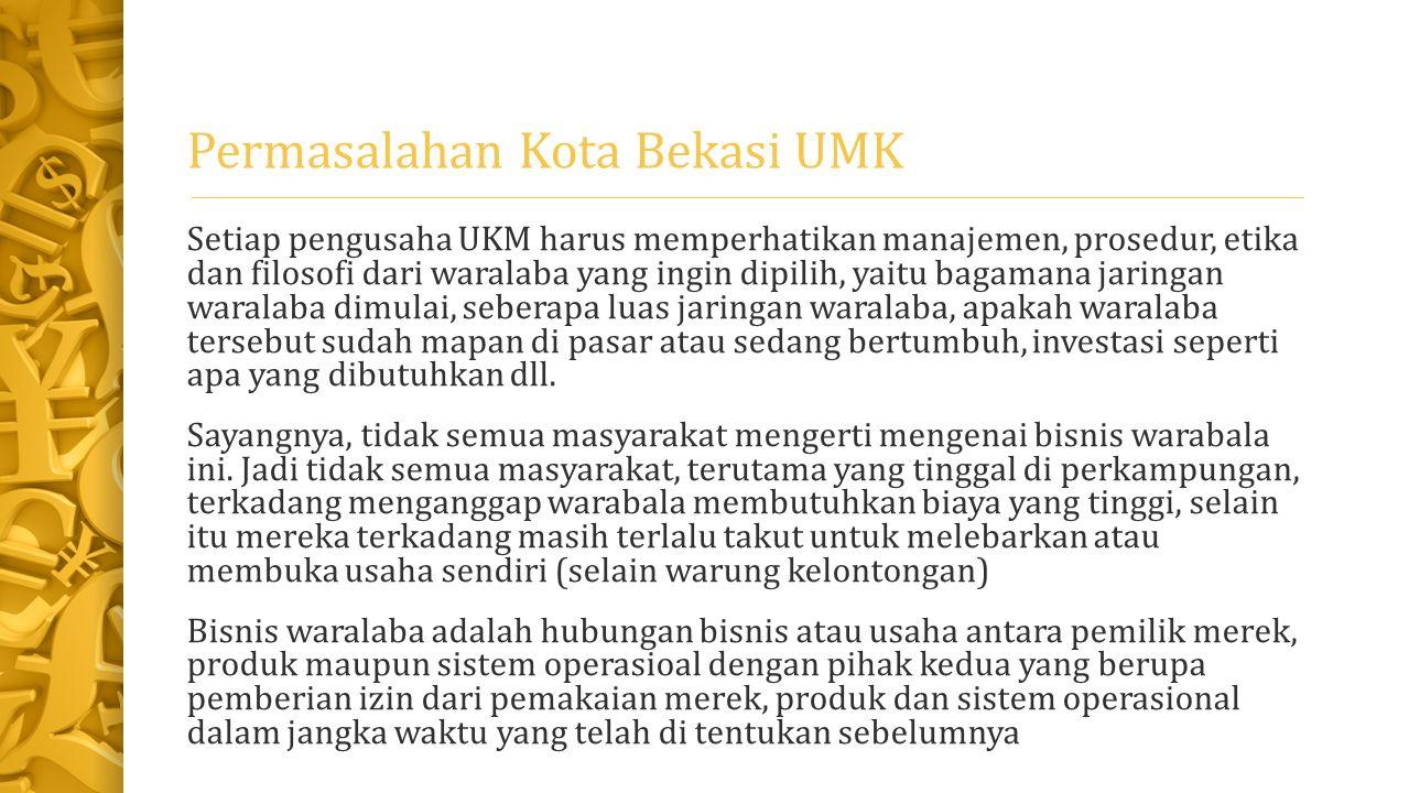 Solusi Permasalahan UKM di Bekasi Dengan dikenalkannya apa itu waralaba itu.