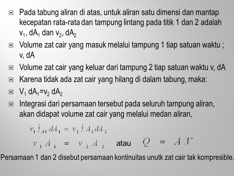  Pada tabung aliran di atas, untuk aliran satu dimensi dan mantap kecepatan rata-rata dan tampung lintang pada titik 1 dan 2 adalah v 1, dA 1 dan v 2, dA 2  Volume zat cair yang masuk melalui tampung 1 tiap satuan waktu ; v, dA  Volume zat cair yang keluar dari tampung 2 tiap satuan waktu v, dA  Karena tidak ada zat cair yang hilang di dalam tabung, maka:  V 1 dA 1 =v 2 dA 2  Integrasi dari persamaan tersebut pada seluruh tampung aliran, akan didapat volume zat cair yang melalui medan aliran, atau Persamaan 1 dan 2 disebut persamaan kontinuitas unutk zat cair tak kompresible.