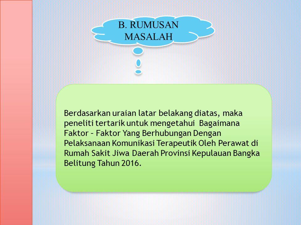 Berdasarkan uraian latar belakang diatas, maka peneliti tertarik untuk mengetahui Bagaimana Faktor – Faktor Yang Berhubungan Dengan Pelaksanaan Komunikasi Terapeutik Oleh Perawat di Rumah Sakit Jiwa Daerah Provinsi Kepulauan Bangka Belitung Tahun 2016.