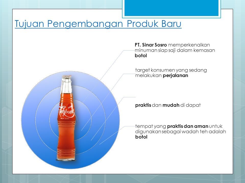 Tujuan Pengembangan Produk Baru PT. Sinar Sosro memperkenalkan minuman siap saji dalam kemasan botol target konsumen yang sedang melakukan perjalanan