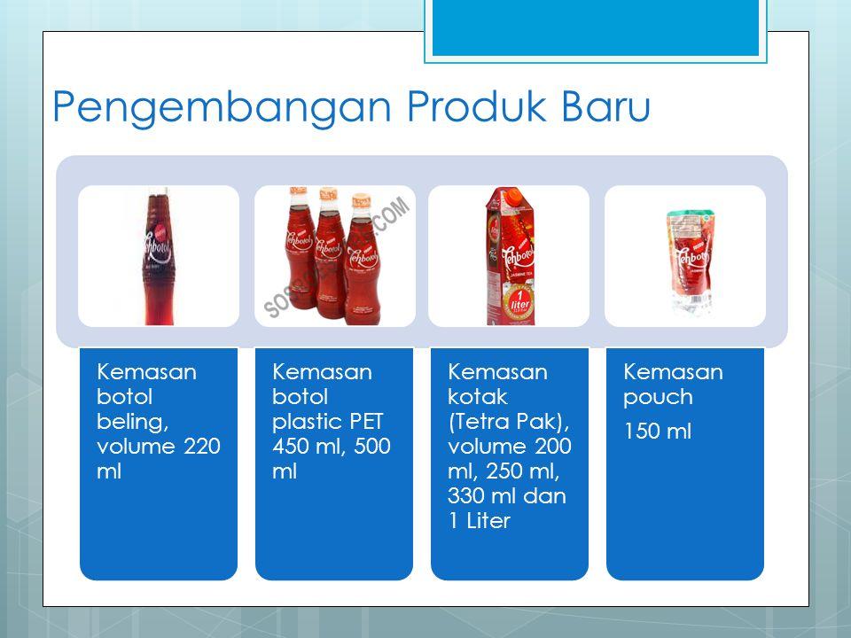Pengembangan Produk Baru Kemasan botol beling, volume 220 ml Kemasan botol plastic PET 450 ml, 500 ml Kemasan kotak (Tetra Pak), volume 200 ml, 250 ml