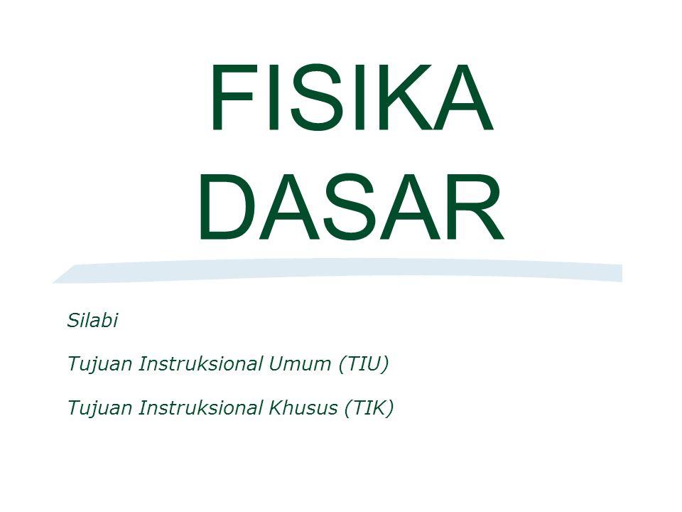 FISIKA DASAR Silabi Tujuan Instruksional Umum (TIU) Tujuan Instruksional Khusus (TIK)