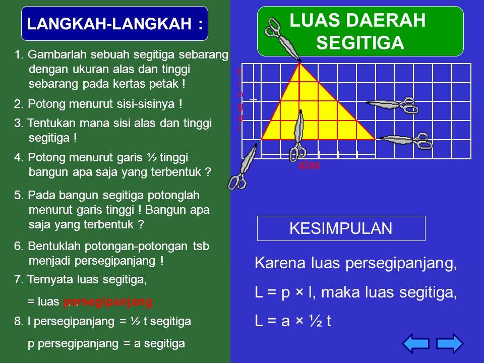 LANGKAH-LANGKAH : 1. Gambarlah sebuah segitiga sebarang dengan ukuran alas dan tinggi sebarang pada kertas petak ! 4. Potong menurut garis ½ tinggi ba