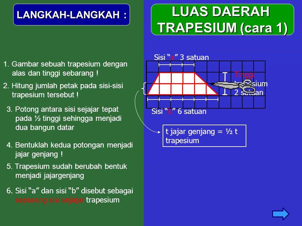 "LUAS DAERAH TRAPESIUM (cara 1) LANGKAH-LANGKAH : 1. Gambar sebuah trapesium dengan alas dan tinggi sebarang ! Sisi ""b"" 6 satuan Tinggi trapesium 2 sat"
