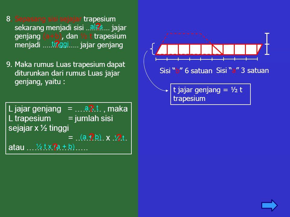 """8. Sepasang sisi sejajar trapesium sekarang menjadi sisi ………… jajar genjang (a+b), dan ½ t trapesium menjadi ……………… jajar genjang Sisi """"b"""" 6 satuan t"""
