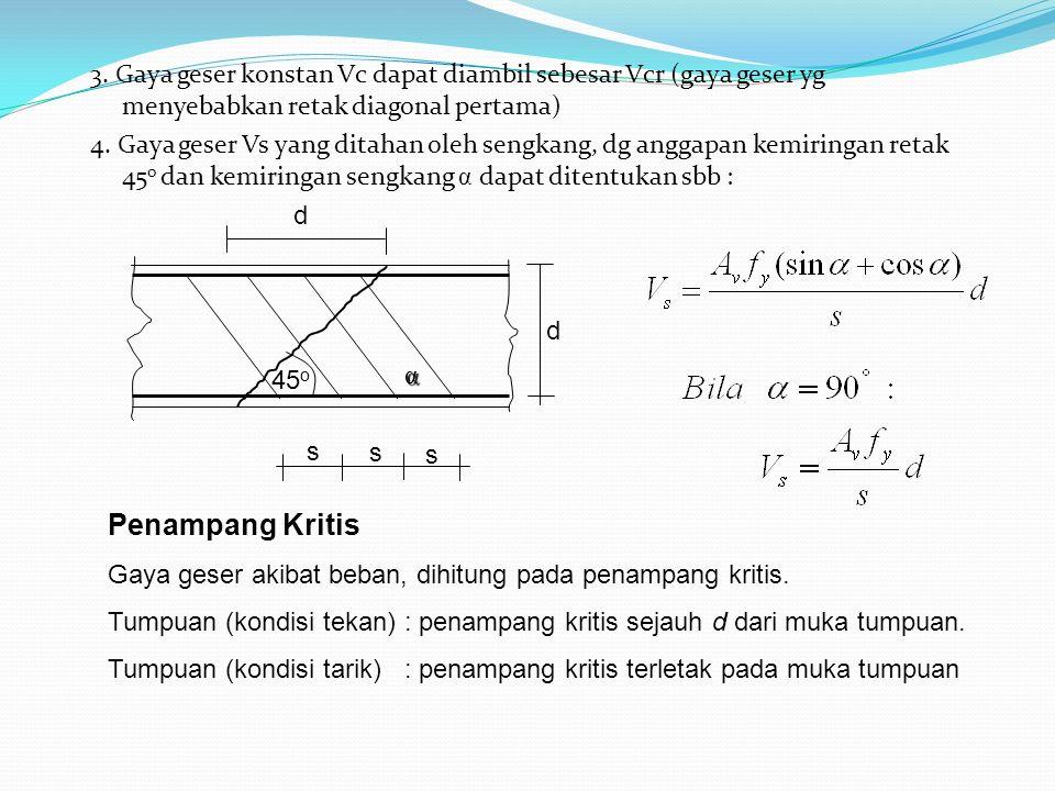 3. Gaya geser konstan Vc dapat diambil sebesar Vcr (gaya geser yg menyebabkan retak diagonal pertama) 4. Gaya geser Vs yang ditahan oleh sengkang, dg