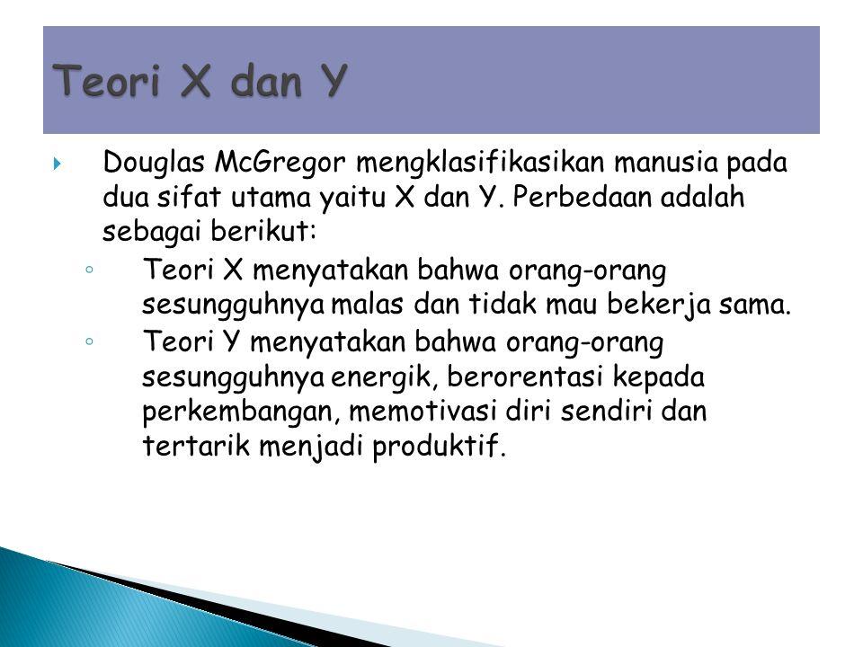  Douglas McGregor mengklasifikasikan manusia pada dua sifat utama yaitu X dan Y.