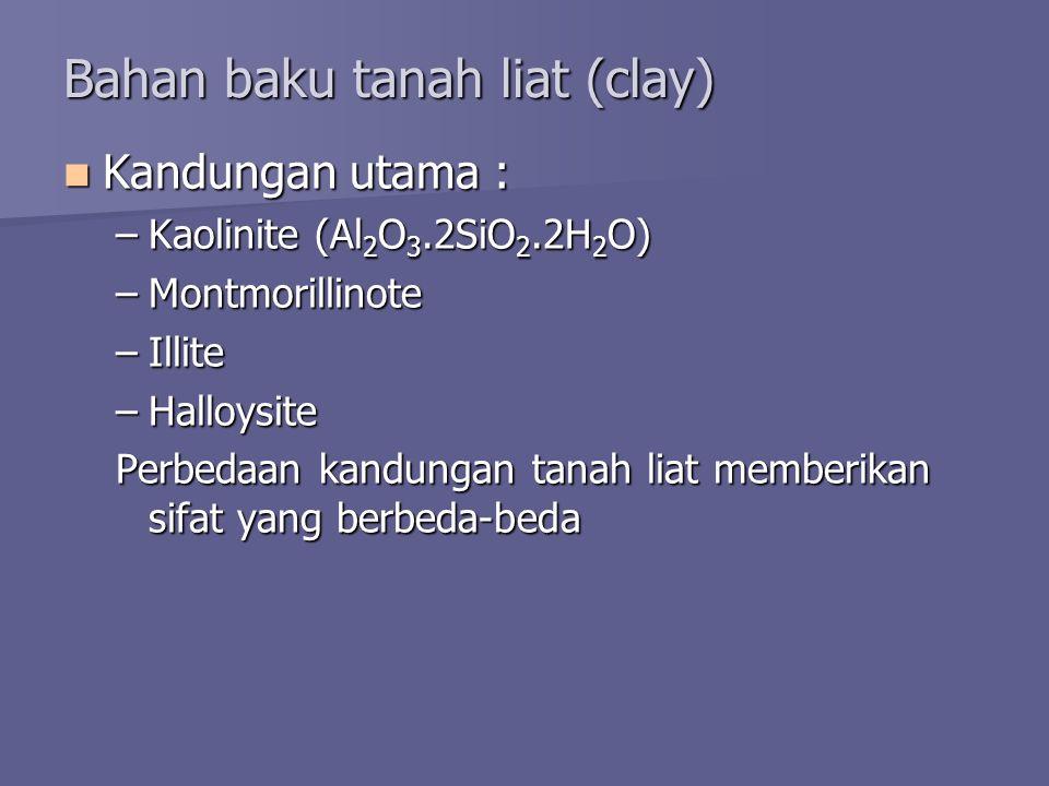 Bahan baku tanah liat (clay) Kandungan utama : Kandungan utama : –Kaolinite (Al 2 O 3.2SiO 2.2H 2 O) –Montmorillinote –Illite –Halloysite Perbedaan kandungan tanah liat memberikan sifat yang berbeda-beda