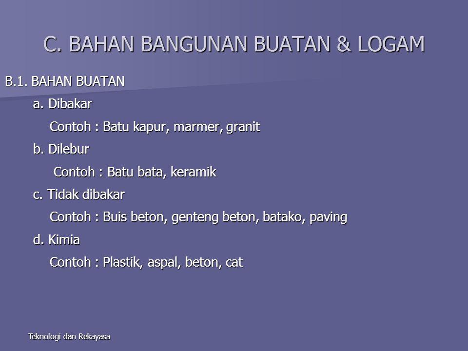 Teknologi dan Rekayasa C. BAHAN BANGUNAN BUATAN & LOGAM B.1.