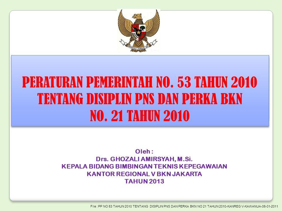 PERATURAN PEMERINTAH NO. 53 TAHUN 2010 TENTANG DISIPLIN PNS DAN PERKA BKN NO.