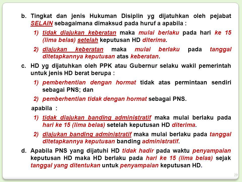 b.Tingkat dan jenis Hukuman Disiplin yg dijatuhkan oleh pejabat SELAIN sebagaimana dimaksud pada huruf a apabila : 1)tidak diajukan keberatan maka mulai berlaku pada hari ke 15 (lima belas) setelah keputusan HD diterima.