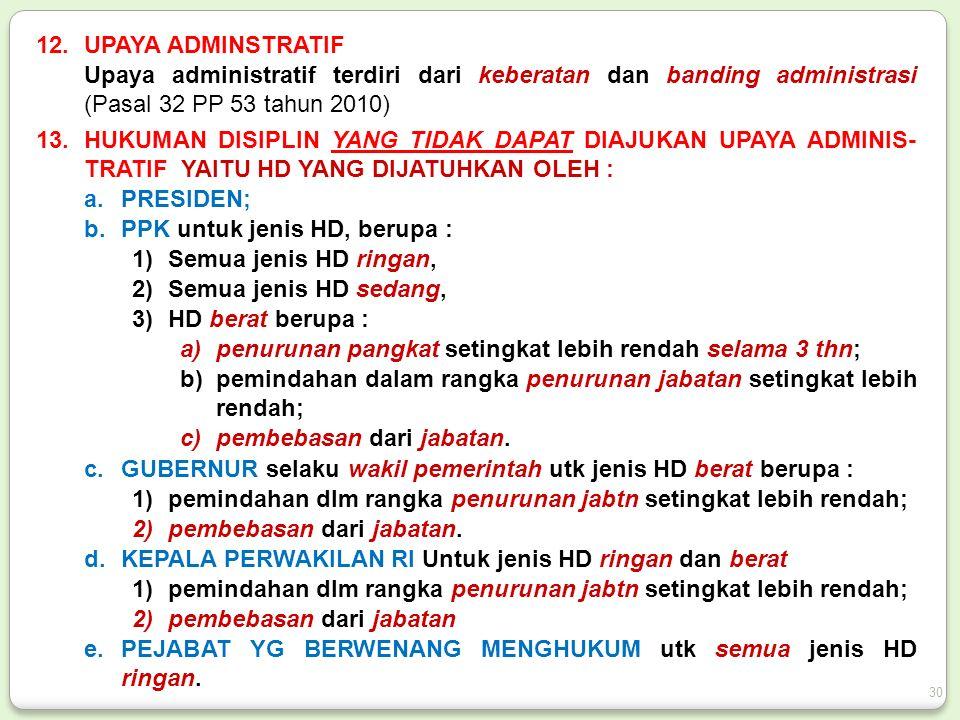 12.UPAYA ADMINSTRATIF Upaya administratif terdiri dari keberatan dan banding administrasi (Pasal 32 PP 53 tahun 2010) 13.HUKUMAN DISIPLIN YANG TIDAK DAPAT DIAJUKAN UPAYA ADMINIS- TRATIF YAITU HD YANG DIJATUHKAN OLEH : a.PRESIDEN; b.PPK untuk jenis HD, berupa : 1)Semua jenis HD ringan, 2)Semua jenis HD sedang, 3)HD berat berupa : a)penurunan pangkat setingkat lebih rendah selama 3 thn; b)pemindahan dalam rangka penurunan jabatan setingkat lebih rendah; c)pembebasan dari jabatan.