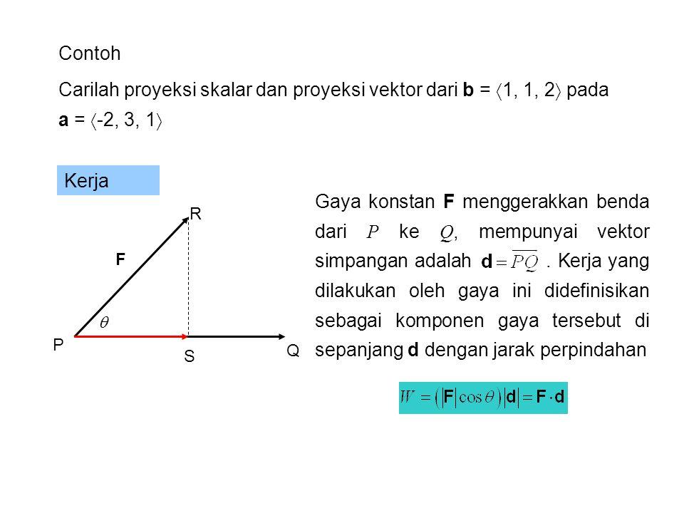 Contoh Suatu gaya F = 3i + 4j +5k menggerakkan sebuah partikel dari titik P(2,1,0) ke titik Q(4,6,2).