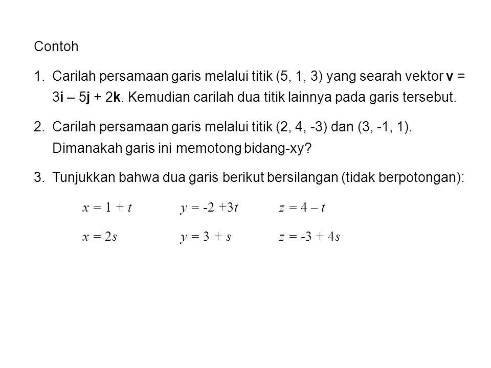 Persamaan Bidang Sebuah bidang di ruang ditentukan oleh sebauh titik P(x 0, y 0, z 0 ) dan sebuah vektor n yang tegak lurus terhadap bidang itu (vektor normal).