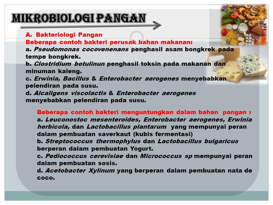 A.Bakteriologi Pangan Beberapa contoh bakteri perusak bahan makanan: a.