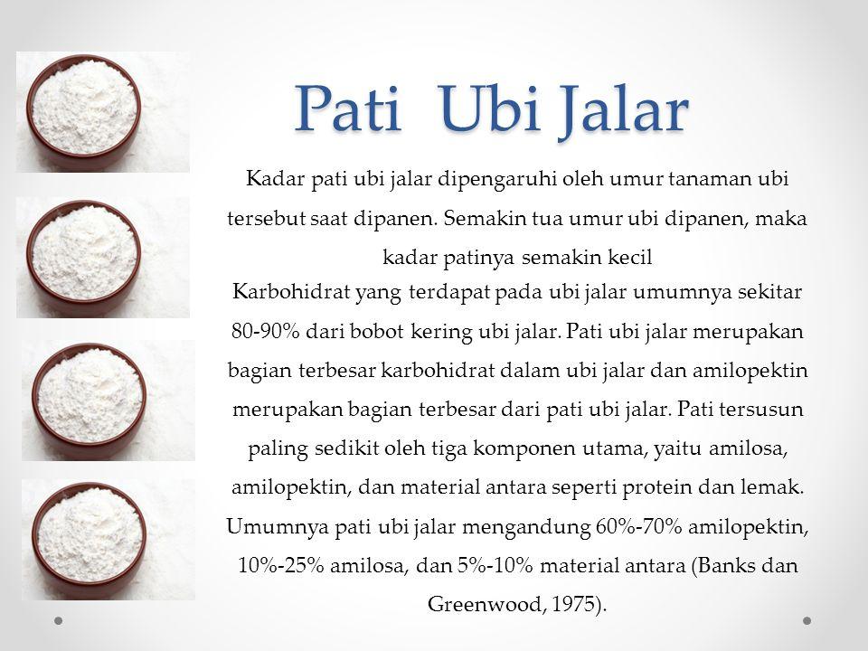 Pati Ubi Jalar Kadar pati ubi jalar dipengaruhi oleh umur tanaman ubi tersebut saat dipanen.
