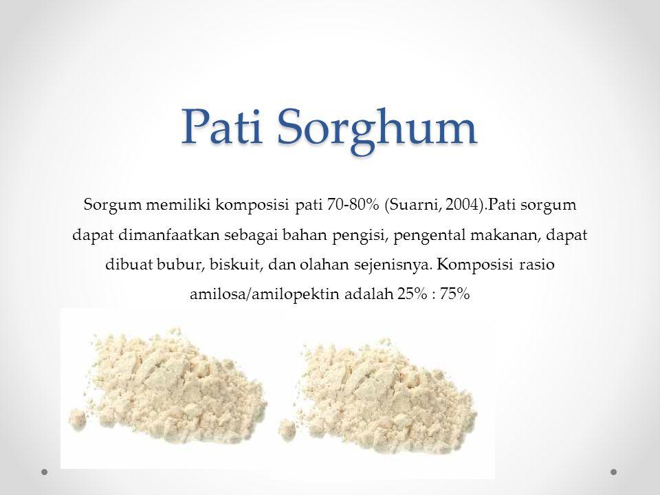 Pati Sorghum Sorgum memiliki komposisi pati 70-80% (Suarni, 2004).Pati sorgum dapat dimanfaatkan sebagai bahan pengisi, pengental makanan, dapat dibuat bubur, biskuit, dan olahan sejenisnya.
