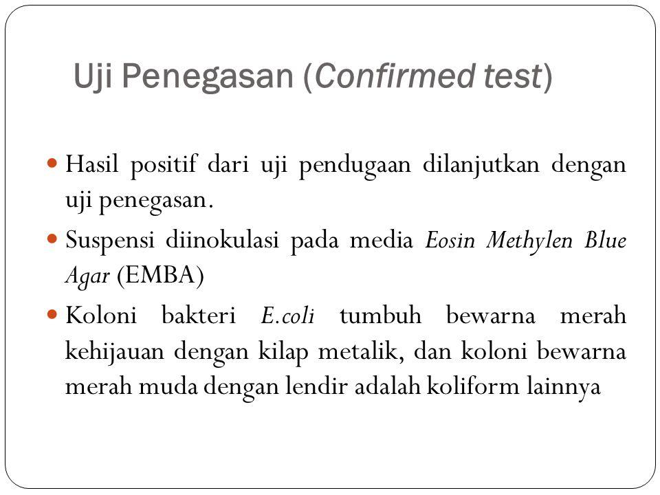 Uji Penegasan (Confirmed test) Hasil positif dari uji pendugaan dilanjutkan dengan uji penegasan.