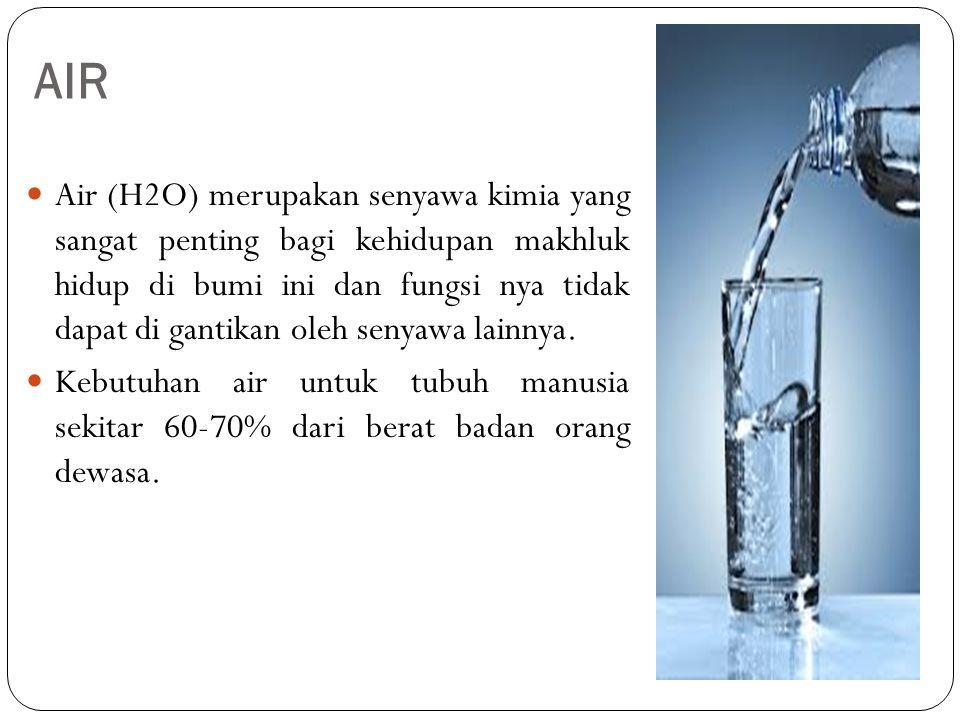 AIR Air (H2O) merupakan senyawa kimia yang sangat penting bagi kehidupan makhluk hidup di bumi ini dan fungsi nya tidak dapat di gantikan oleh senyawa lainnya.