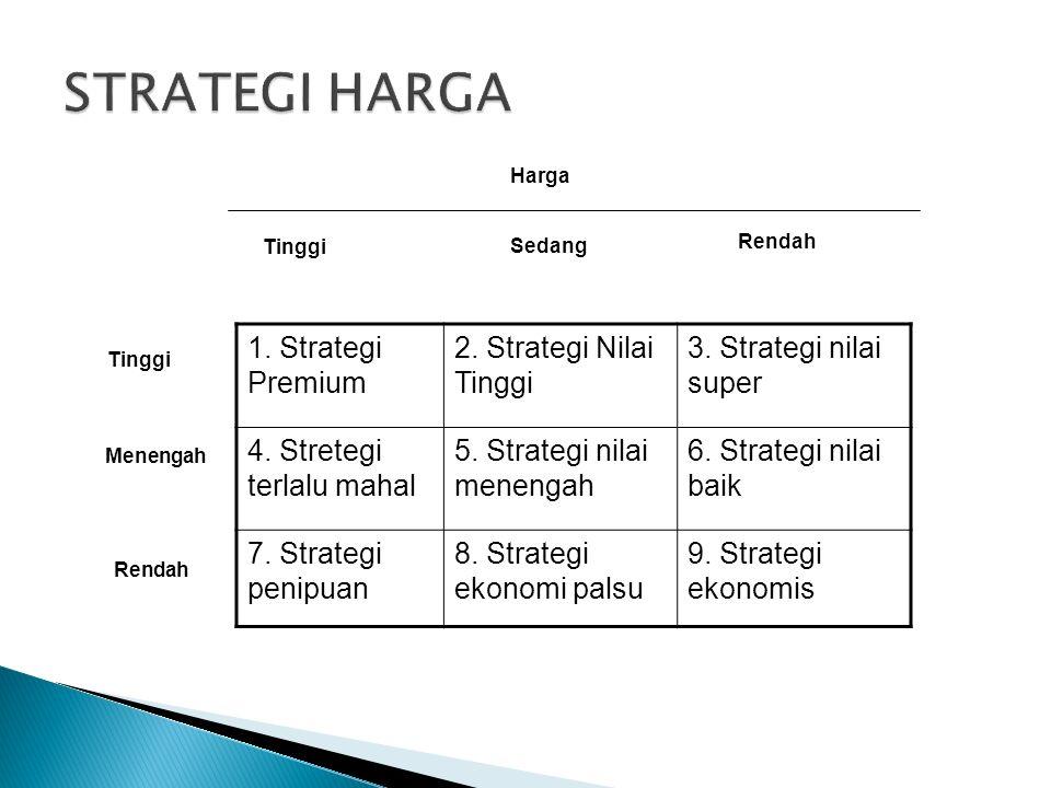 1. Strategi Premium 2. Strategi Nilai Tinggi 3. Strategi nilai super 4.