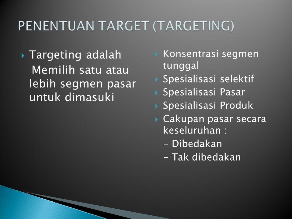  Targeting adalah Memilih satu atau lebih segmen pasar untuk dimasuki  Konsentrasi segmen tunggal  Spesialisasi selektif  Spesialisasi Pasar  Spesialisasi Produk  Cakupan pasar secara keseluruhan : - Dibedakan - Tak dibedakan