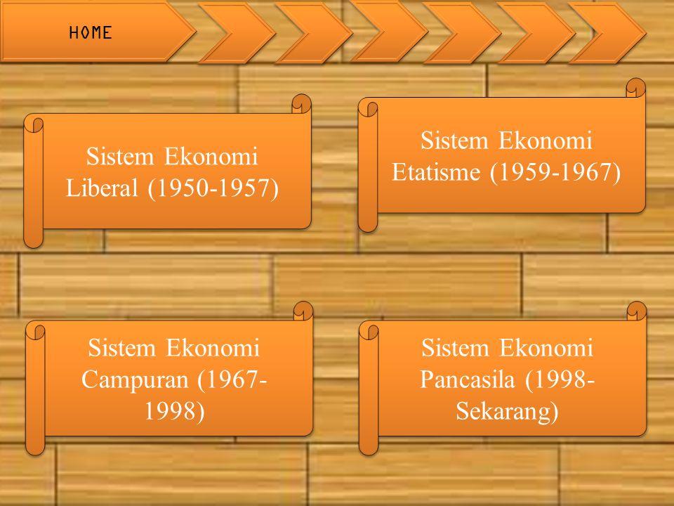Sistem Ekonomi Liberal (1950-1957) Sistem Ekonomi Liberal (1950-1957) Sistem Ekonomi Etatisme (1959-1967) Sistem Ekonomi Etatisme (1959-1967) Sistem Ekonomi Pancasila (1998- Sekarang) Sistem Ekonomi Pancasila (1998- Sekarang) Sistem Ekonomi Campuran (1967- 1998) Sistem Ekonomi Campuran (1967- 1998) HOME