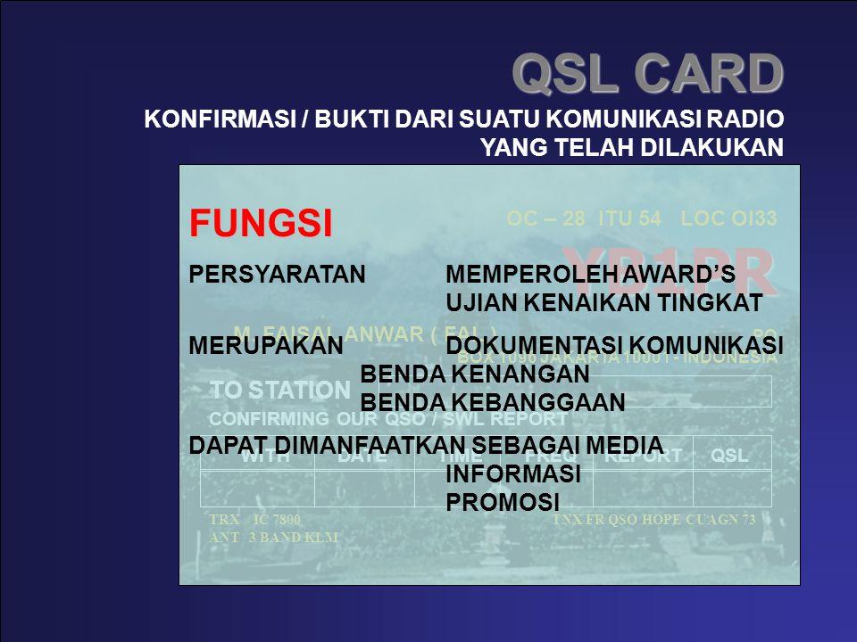QSL CARD YB1PR OC – 28 ITU 54 LOC OI33 YB1PR M. FAISAL ANWAR ( FAL ) PO BOX 1096 JAKARTA 10001 - INDONESIA TO STATION CONFIRMING OUR QSO / SWL REPORT