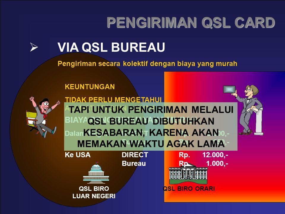 VIA QSL BUREAU Pengiriman secara kolektif dengan biaya yang murah QSL BIRO ORARIQSL BIRO LUAR NEGERI KEUNTUNGAN TIDAK PERLU MENGETAHUI ALAMAT STASIUN