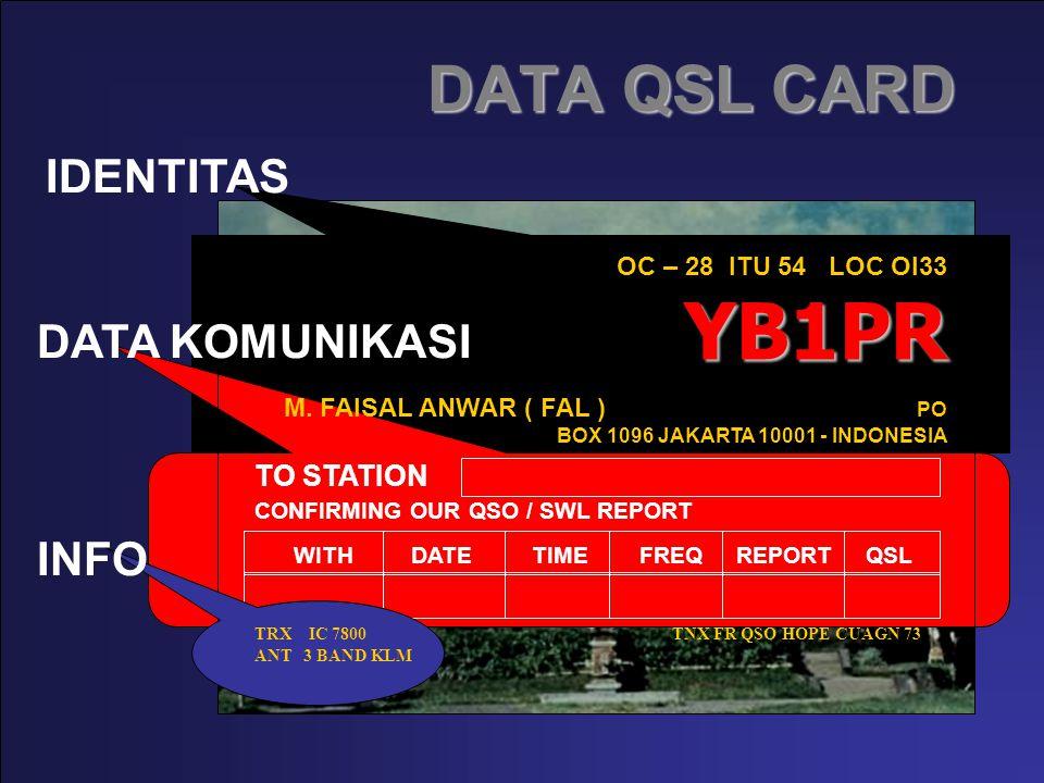 DATA QSL CARD YB1PR OC – 28 ITU 54 LOC OI33 YB1PR M. FAISAL ANWAR ( FAL ) PO BOX 1096 JAKARTA 10001 - INDONESIA TO STATION CONFIRMING OUR QSO / SWL RE