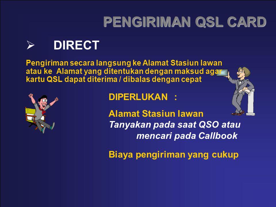 PENGIRIMAN QSL CARD DIRECT DIPERLUKAN : Alamat Stasiun lawan Tanyakan pada saat QSO atau mencari pada Callbook Biaya pengiriman yang cukup Pengiriman
