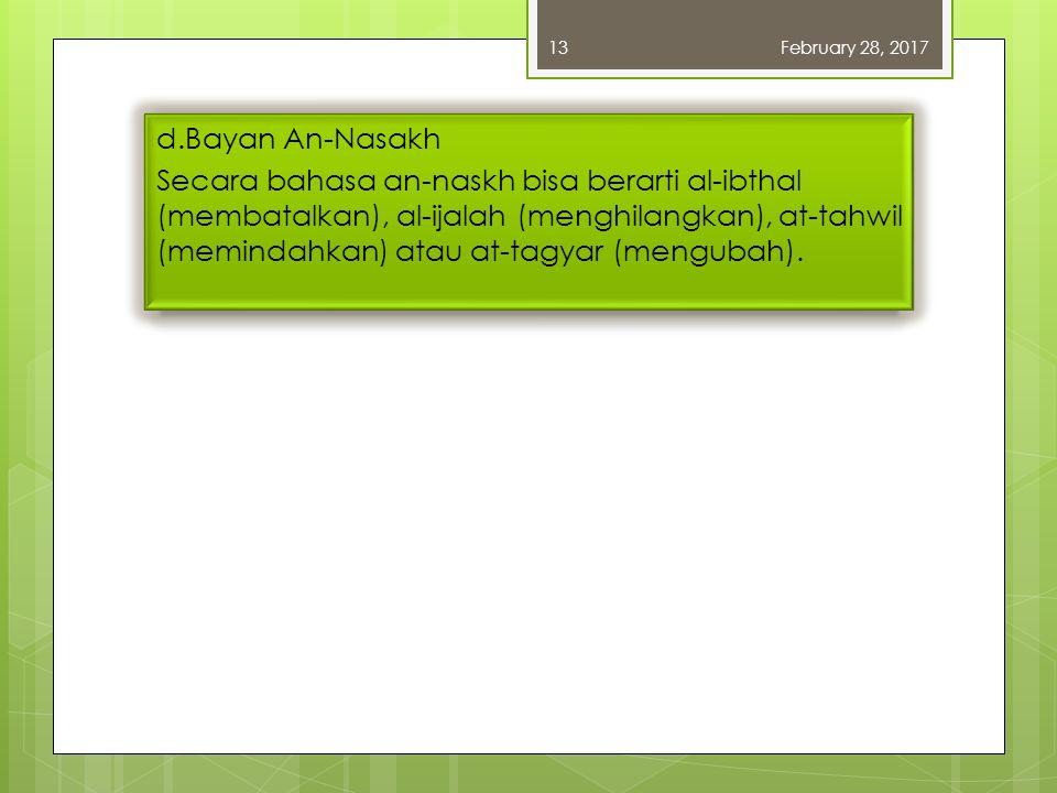 d.Bayan An-Nasakh Secara bahasa an-naskh bisa berarti al-ibthal (membatalkan), al-ijalah (menghilangkan), at-tahwil (memindahkan) atau at-tagyar (mengubah).
