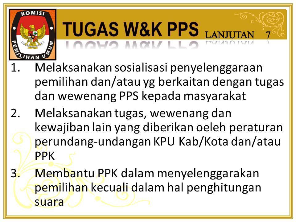1.Menindaklanjuti dg segera temuan dan laporan dari PPL 2.Melakukan evaluasi dan membuat laporan setiap tahapan 3.Sanksi adm dan PAW  PPDP &/ KPPS yg melanggar peraturan perundang-2an 4.Menindak lanjuti  Temuan dan Laporan Pengawas Pemilu Lapangan (PPL)