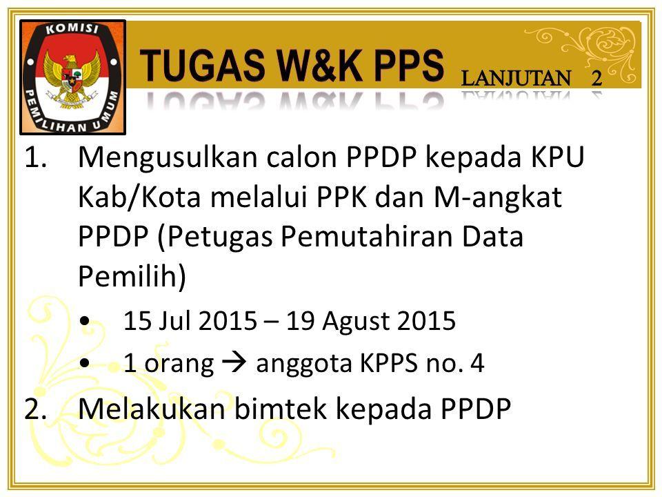 1.Membentuk KPPS (Kelompok Penyelenggara Pemungutan Suara) awal Sep 2015 7 anggota 2.Melakukan verifikasi dan rekapitulasi dukungan pasangan calon perseorangan 23 Juni 2015 – 06 Juli 2015 1 orang  Petugas Peneliti