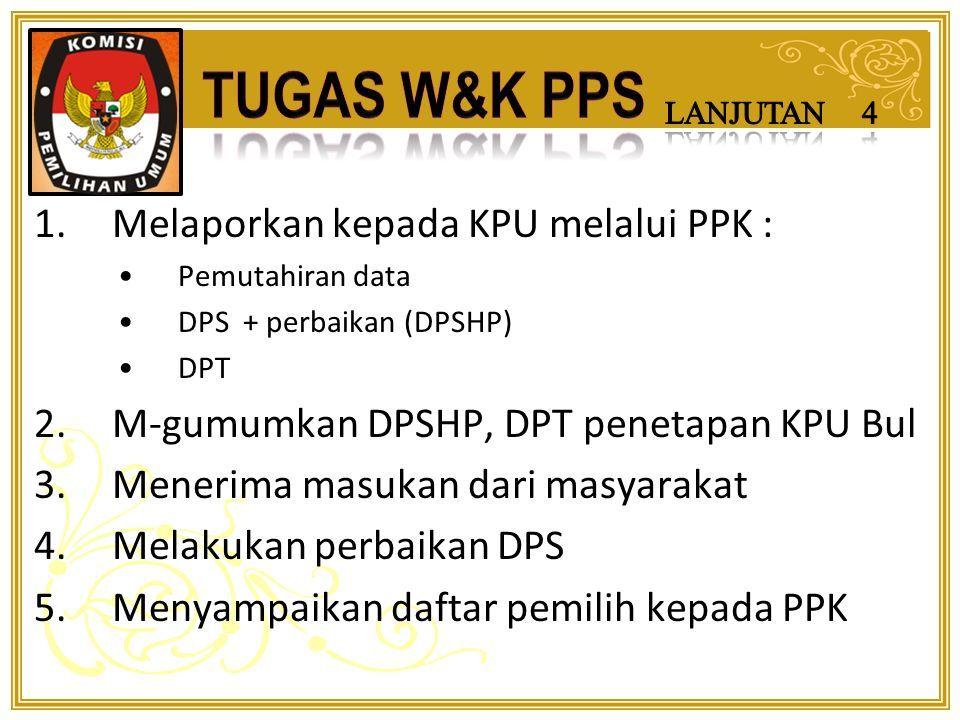 1.Mengusulkan nama anggota petugas ketertiban TPS kepada KPU Kab/Kota melalui PPK 2.Menetapkan petugas ketertiban TPS dg Keputusan PPS 3.Melaporkan nama anggota KPPS, Petugas PPDP, dan petugas ketertiban TPS kepada KPU Bul melalui PPK