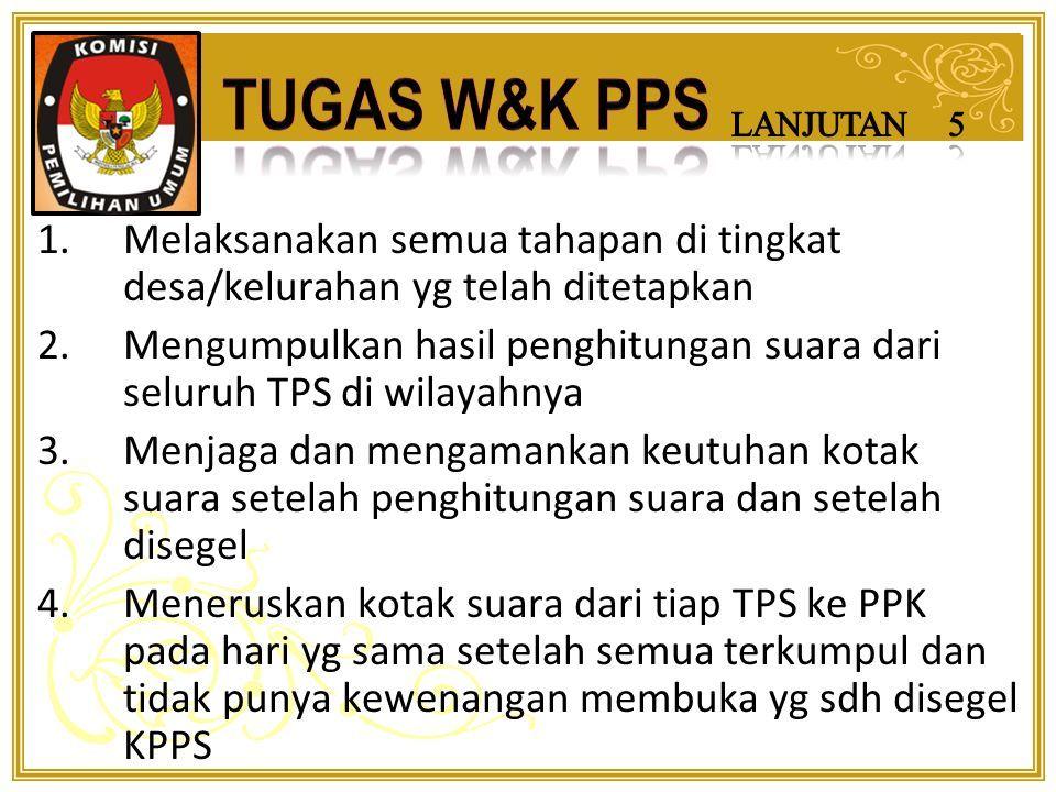 1.Melaporkan kepada KPU melalui PPK : Pemutahiran data DPS + perbaikan (DPSHP) DPT 2.M-gumumkan DPSHP, DPT penetapan KPU Bul 3.Menerima masukan dari masyarakat 4.Melakukan perbaikan DPS 5.Menyampaikan daftar pemilih kepada PPK