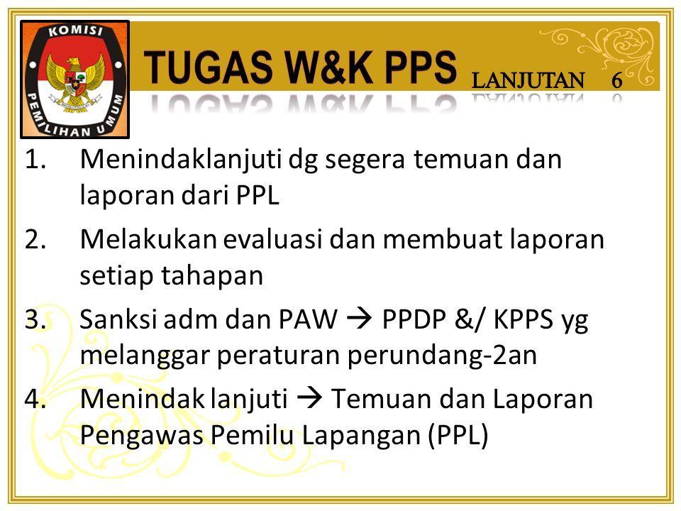 1.Melaksanakan semua tahapan di tingkat desa/kelurahan yg telah ditetapkan 2.Mengumpulkan hasil penghitungan suara dari seluruh TPS di wilayahnya 3.Menjaga dan mengamankan keutuhan kotak suara setelah penghitungan suara dan setelah disegel 4.Meneruskan kotak suara dari tiap TPS ke PPK pada hari yg sama setelah semua terkumpul dan tidak punya kewenangan membuka yg sdh disegel KPPS