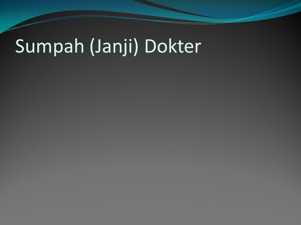 Sumpah (Janji) Dokter