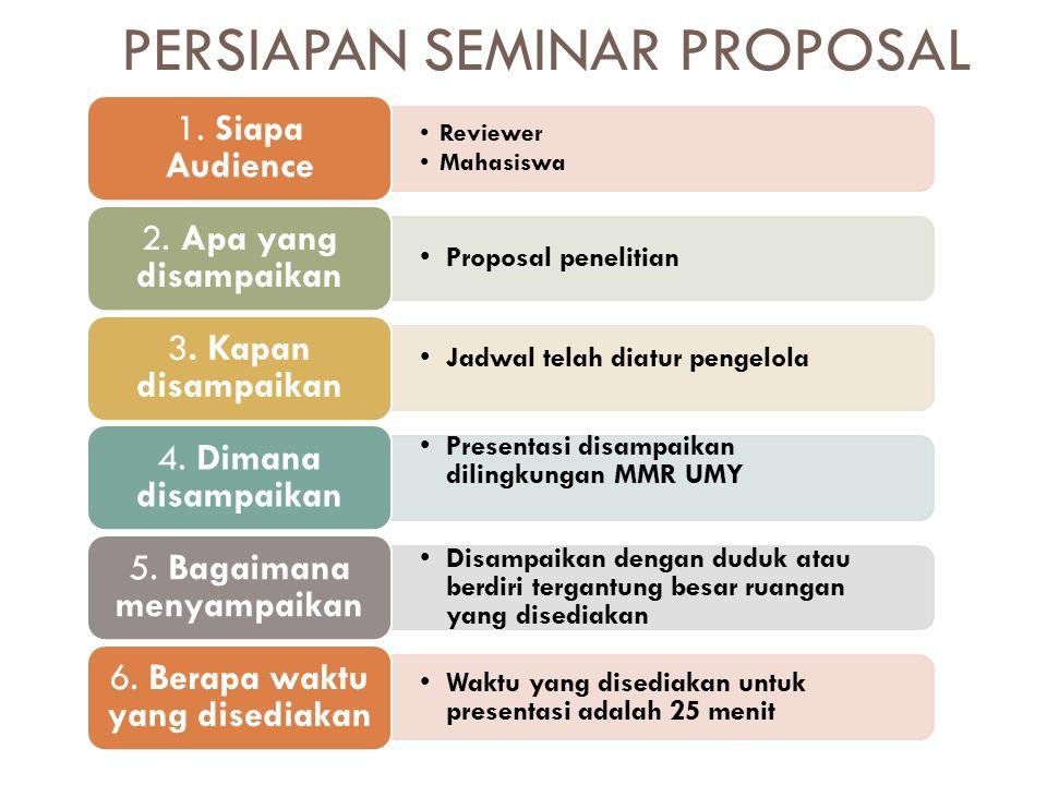 PERSIAPAN SEMINAR PROPOSAL Reviewer Mahasiswa 1. Siapa Audience Proposal penelitian 2.