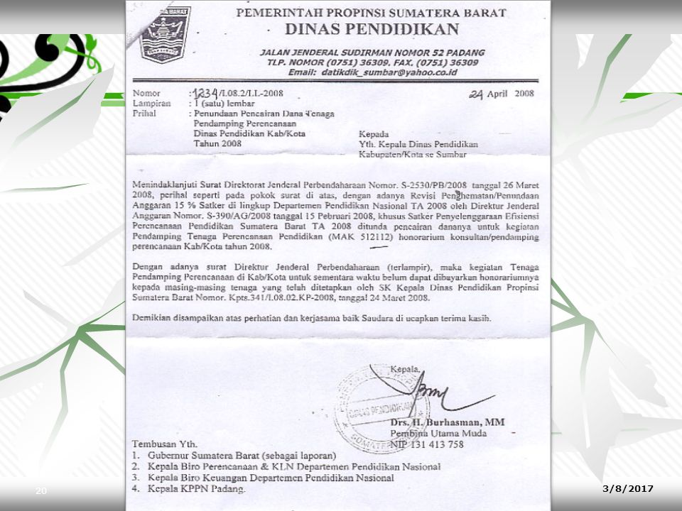 9. Tembusan CONTOH : Tembusan : 1.Yth. Ketua LKMD Desa Kalipucang Kulon 2.Yth.