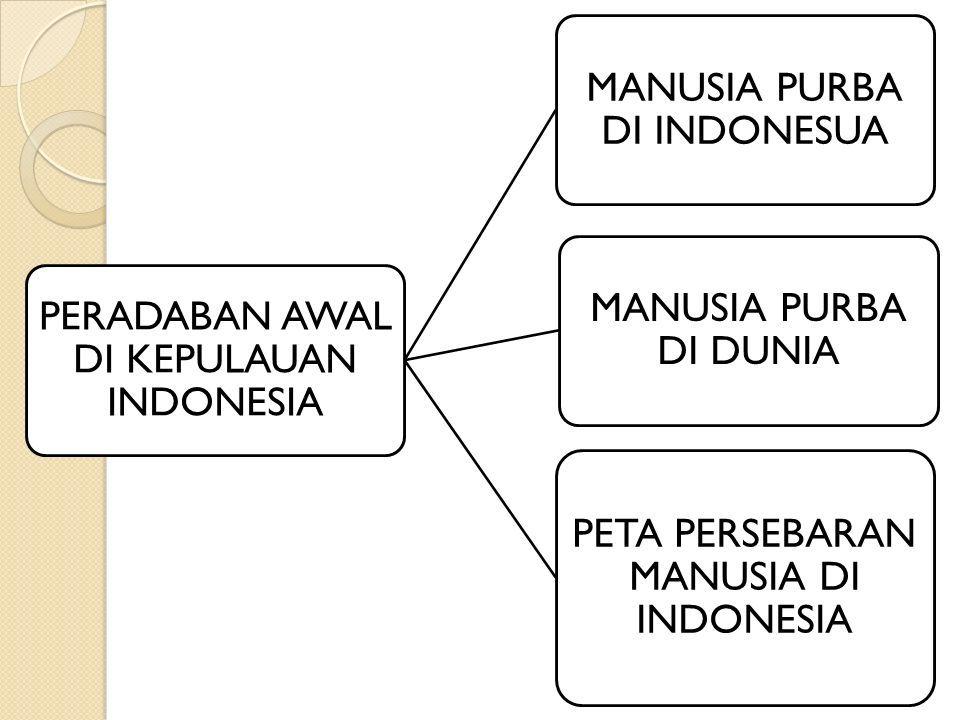PERADABAN AWAL DI KEPULAUAN INDONESIA MANUSIA PURBA DI INDONESUA MANUSIA PURBA DI DUNIA PETA PERSEBARAN MANUSIA DI INDONESIA