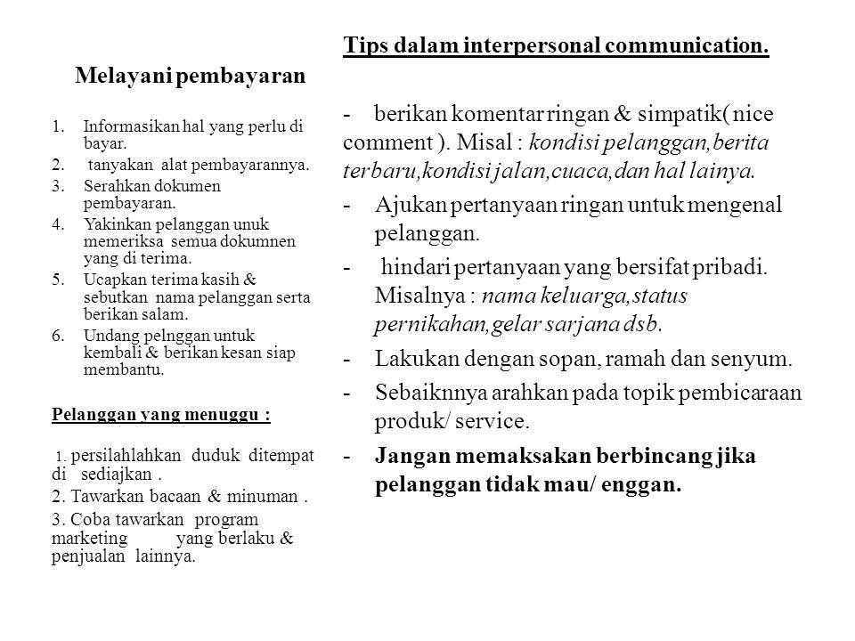 Melayani pembayaran Tips dalam interpersonal communication.